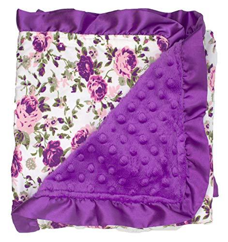 Dear Baby Gear Baby Blankets, Vintage Floral Purple Roses on White, Purple Minky, Purple Ruffle