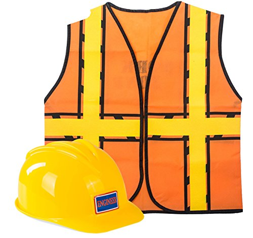 Tigerdoe Construction Costume - Construction Hat and Costume Vest - Dress Up Accessories (Construction Hat and Construction