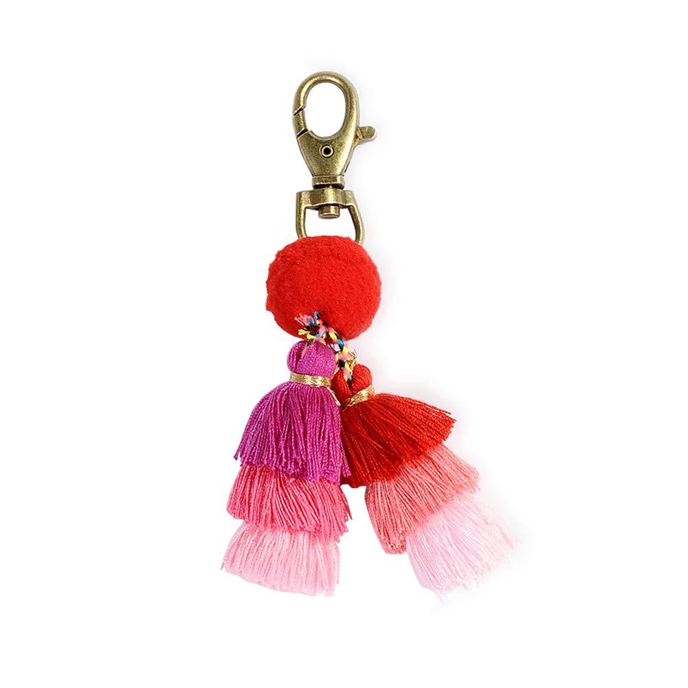 Pom pom key chians boho bag charm tassel key ring blue key holder for women