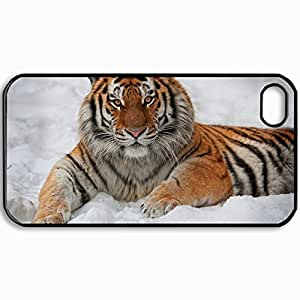 Personalized Protective Hardshell Back Hardcover For iPhone 4/4S, Tiger Design In Black Case Color