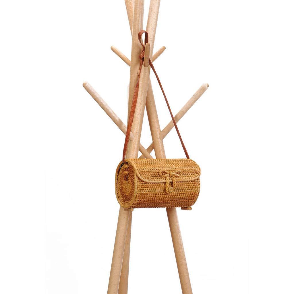 Women's Bag, Rattan Bag - Cylindrical - Slung - Beach Bag - Flower Lining - Retro Travel Bag by BHM (Image #4)