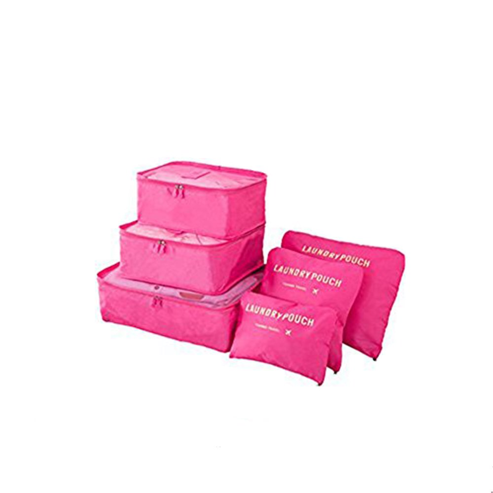 6 pcs Luggage Packing Organizers Packing Cubes Set for Travel Vinmax Storage Bags with Laundry Bag Packing Pouches (Rose Red)