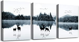 Black and white forest landscape Canvas Wall Decorations for Living Room Bathroom wall art Bedroom Wall decor 3 Pieces Framed print Artwork modern Office Home Decoration deer poster wall Artwork