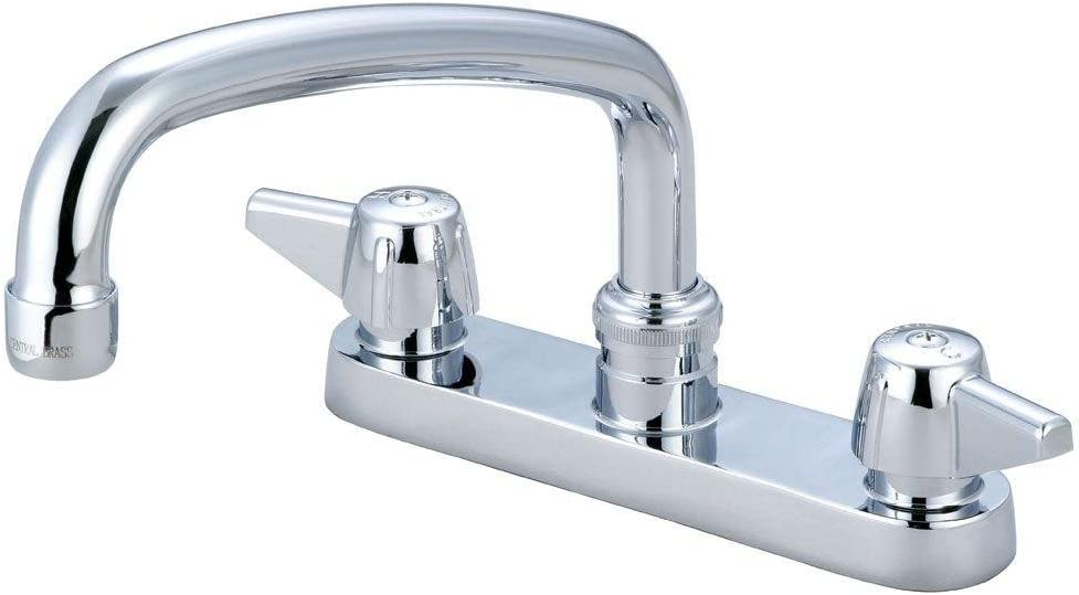 """Central Brass 0125-A Double Handle Centerset Kitchen Faucet with 6"""" Centers"""