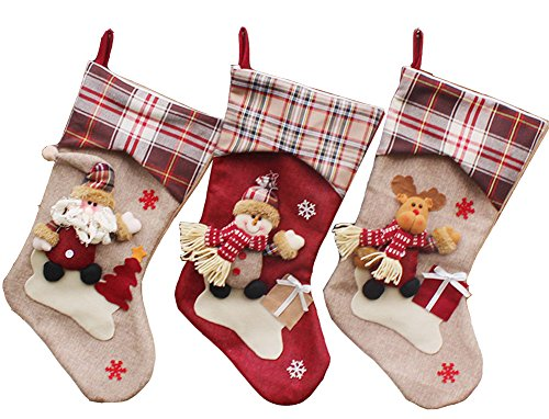 (POP-Zone 3D Happy Plush Christmas Stockings Holders Stuffers Hangers Kit Hand Stitched for Kids Wool & Non-Woven & Cotton 18