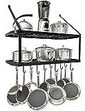 VDOMUS Shelf Pot Rack Wall Mounted Pan Hanging Racks 2 Tire (Black)