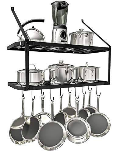 Rack Small Iron Pot (VDOMUS Shelf Pot Rack Wall Mounted Pan Hanging Racks 2 Tire (Black))
