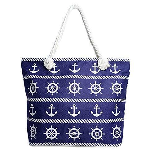 - Beach Bag XL Tote w/Zipper~Perfect for Pool~Weekend Trip~Travel~Gym~Shopping~Grocery (Nautical)