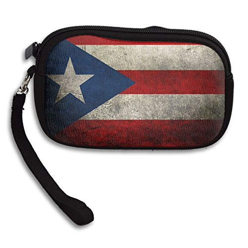 ZGZGZ Womens Girls Retro Puerto Rico Flag Small Wallet Coins Wallet With Zipper