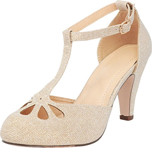 527b0db06b Cambridge Select Women's Teardrop Cutout T- Strap Mary Jane Dress Pump