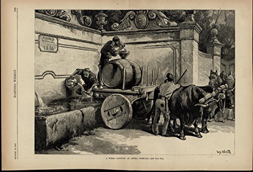 public-water-fountain-cintra-portugal-filling-jugs-1882-great-old-vintage-print