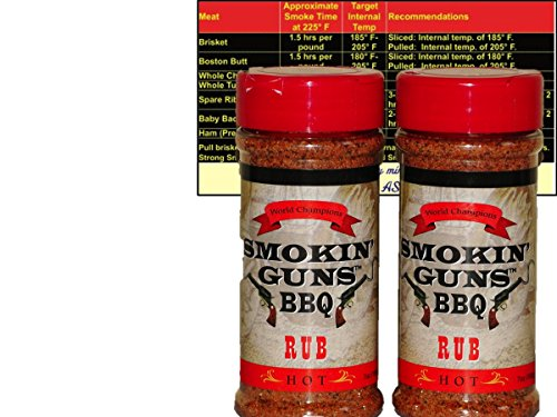 Smokin Guns BBQ Hot Rub Bundle (Two 7 oz Smokin Guns BBQ Rub Hot) with Complimentary Miniature Meat Smoking Guide Magnet