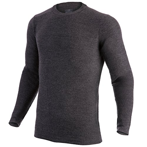 MERIWOOL Merino Wool Men's Knit Sweater Crewneck Pullover Top - Large Athletic Wool Sweater
