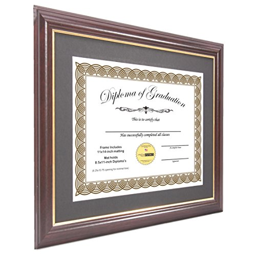 Creative Picture Frames CreativePF [11x14mh.gd] Mahogany Frame with Gold Rim, Black Matting Holds 8.5 by 11-inch Diploma with Easel and installed Hangers (12-Pack) by Creative Picture Frames (Image #1)