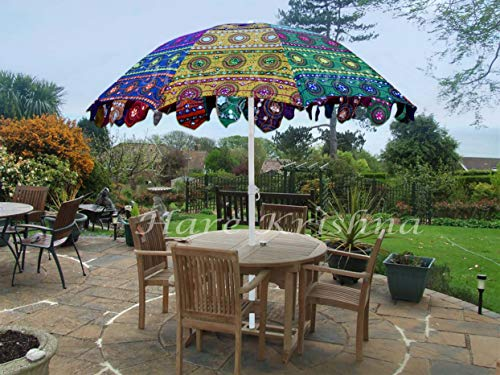 Hare Krishna Indian Garden Parasol Large Outdoor Sun Shade Cotton Sun Umbrella 70 x 90 Inches For Sale