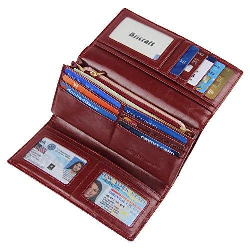 Women RFID Blocking Wallet Trifold Ladies Luxury Leather Clutch Travel Purse Wine Red