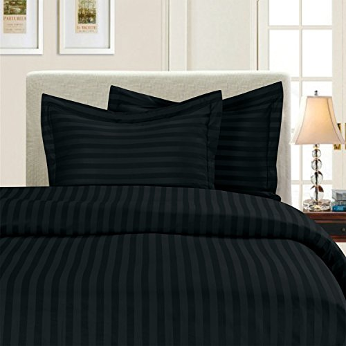 Elegant Comfort Wrinkle & Fade Resistant 1500 Thread Count - Damask Stripes Egyptian Quality Luxurious Silky Soft 3pc Duvet Cover Set, King/Cal-King, Black