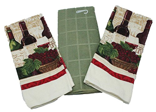 Wine Kitchen Towels, Wine Themed Kitchen Towels - 3 PC Gift Set - Comes in Organza Gift Bag