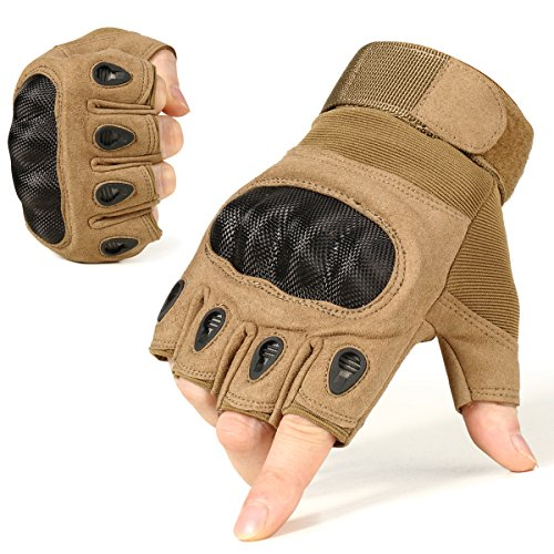 Half Finger Impact Gloves - JIUSY Army Tactical Fingerless Gloves Military Hard Knuckle Half Finger Gloves for Outdoor Motorcycle Cycling Hunting Hiking Airsoft Paintball Size X-Large Brown