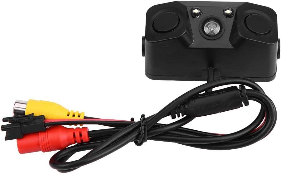 Qiilu 3 in 1 Car Backup Camera Reversing Video Rearview Camera with Backup Radar System Detector and Parking Sensor Waterproof for Universal Vehicles
