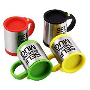 Self Stirring Mug, Eamall Auto Self Mixing Stainless Steel Coffee Cup for Office/Kitchen/Home/Travel, 14oz/400ml(Yellow)