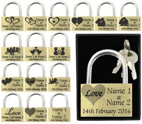 3 Hearts Valentines Present Wedding Favour 40mm Love Lock Personalised Engraved Padlock Anniversary
