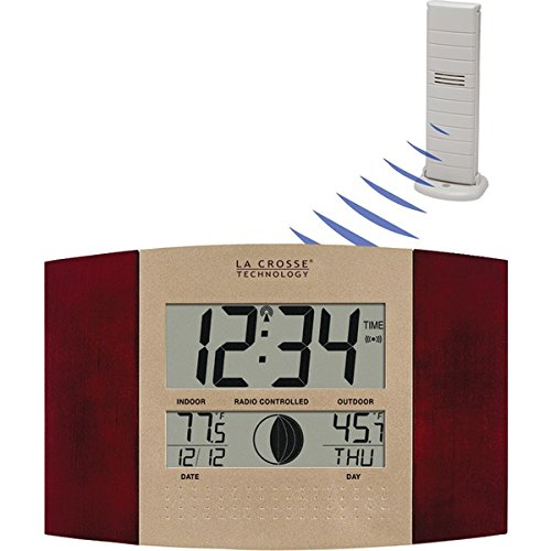 La Crosse Technology WS-8117U-IT-C Digital Wall Clock, with Temperature and Moon Phase -