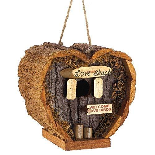 New Wood Heart Shaped Love Shack Birdhouse