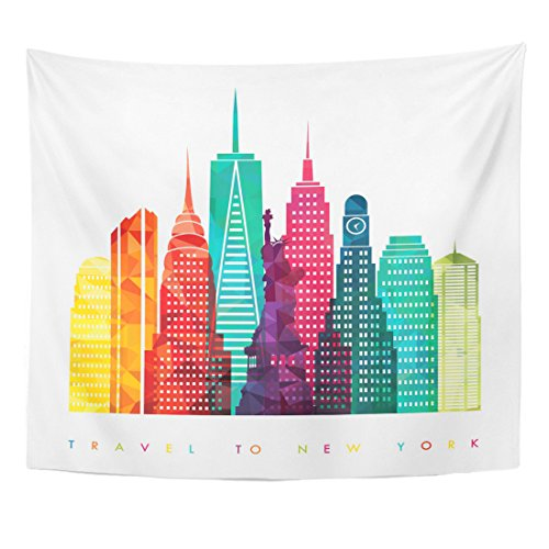 (TOMPOP Tapestry Nyc New York City United States of America Travel and Tourism Skyline Manhattan Home Decor Wall Hanging for Living Room Bedroom Dorm 50x60 Inches)