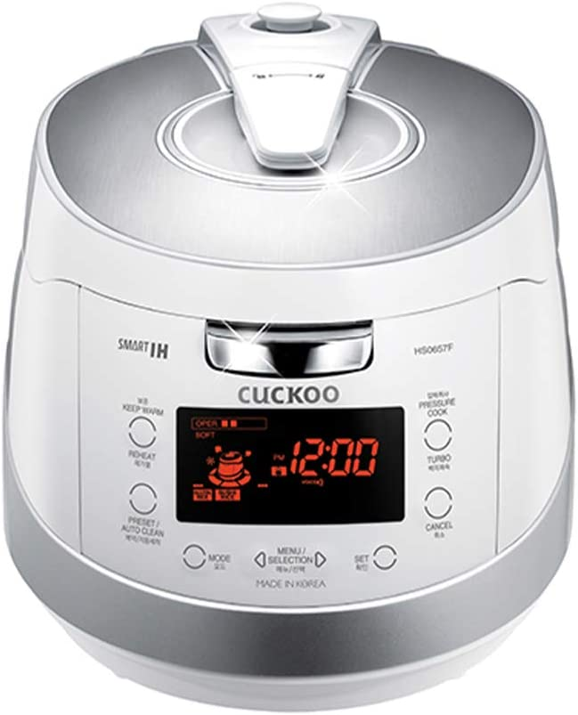 Cuckoo CRP-HS0657F 6 cup Induction Heating Pressure Rice Cooker – 18 Built-in Programs Including Glutinous, GABA, Mixed, Sushi and More, Non-Stick Coating, Made in Korea, White/Silver, 6 C