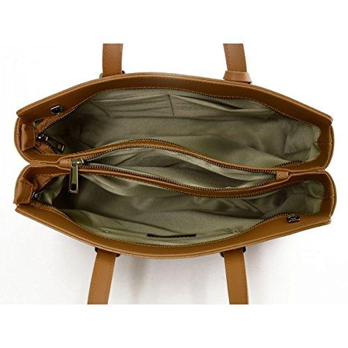Bolso De Mano Para Mujer En Piel Verdadera Con 2 Compartimentos Color Cognac - Peleteria Echa En Italia - Bolso Mujer