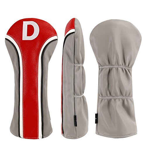 Big Teeth Vintage Golf Driver Headcovers Head Covers Club Protector Pu Leather for 460cc 1 Woods Titleist Taylormade M2 Tour Callaway Epic Ping Cleveland Nike Adams PXG Mizuno Cobra (Red/Gray-Driver)