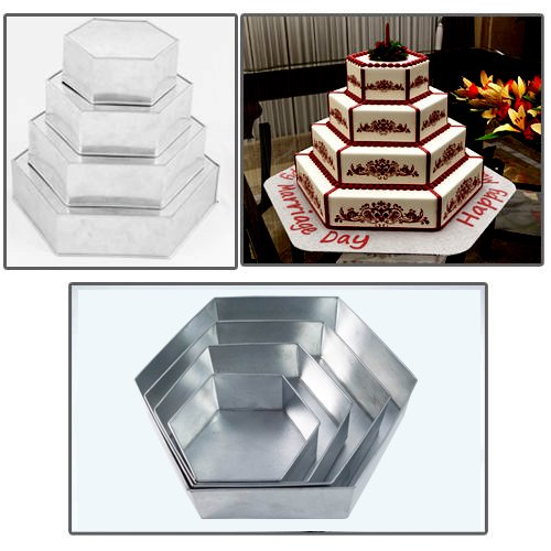 4 Tier Hexagon Multilayer Birthday Wedding Anniversary Cake Tins / Pans 6 inch 8 inch 10 inch 12 inch