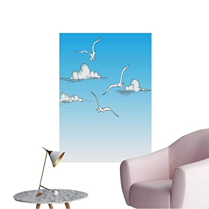 Wall Painting Seagulls Flying In The Clouds Vector Color High