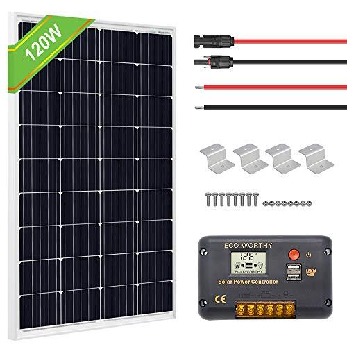 ECO-WORTHY 120 Watts Solar Panel Off Gird RV Boat Kit
