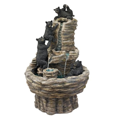 Design Toscano Resin Rocky Mountain Splash Black Bears Garden Fountain