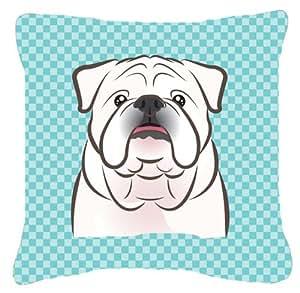 Caroline's Treasures BB1158PW1414 Checkerboard Blue White English Bulldog Canvas Pillow, Large, Multicolor