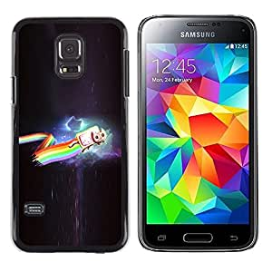 Paccase / Dura PC Caso Funda Carcasa de Protección para - Cat Rainbow Cosmos Flying Cartoon Art Drawing - Samsung Galaxy S5 Mini, SM-G800, NOT S5 REGULAR!