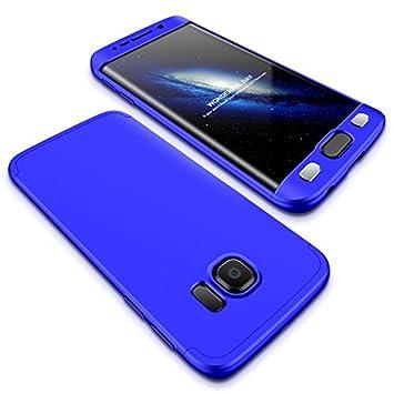 Compatible Samsung Galaxy S6 EDGE Funda(2018)Carcasa 360°ultra fina Protectora cojín+Vidrio Templado Pantalla Protector,3 in 1 PC Hard Caja Caso Skin ...