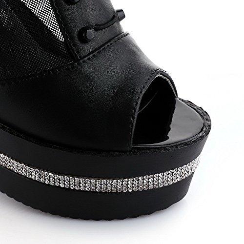 Allhqfashion Womens Zip Peep Toe Materiale Morbido Tacchi Sandali Solidi Nero
