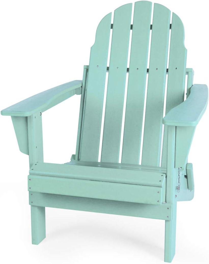 Gettati Foldable HDPE Plastic/Resin Classic Outdoor Adirondack Chair for Patio Deck Garden Backyard & Lawn Furniture (Mint Green)