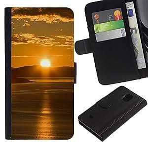 LASTONE PHONE CASE / Lujo Billetera de Cuero Caso del tirón Titular de la tarjeta Flip Carcasa Funda para Samsung Galaxy S5 Mini, SM-G800, NOT S5 REGULAR! / Sunset Beautiful Nature 65