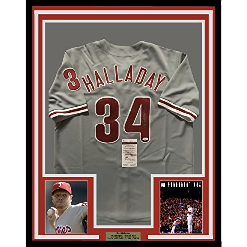 Framed Autographed Signed Roy Halladay 33X42 Philadelphia Phillies Grey Baseball Jersey Jsa Coa