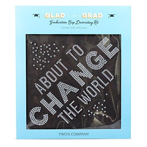 About to Change the World Rhinestone Adhesive Applique Graduation Cap Decorating (Graduation Brunch Ideas)