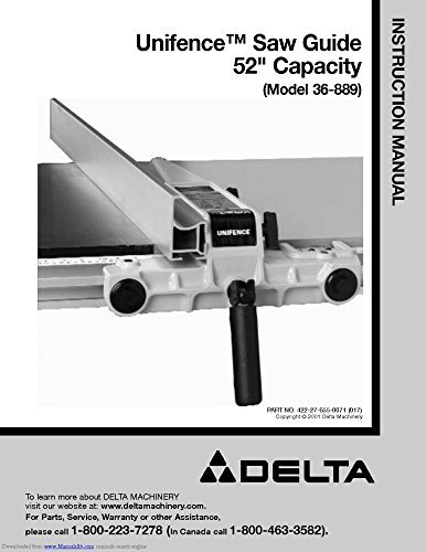 Delta 36-889 Unifence Owners Instruction Manual Reprint [Plastic Comb] ()