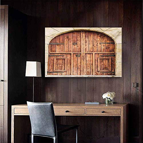 duommhome Rustic Simulation Oil Painting Traditional Oak Crafted Doorway on Stone Facade Artisan Hand Made Features Culture Decorative Painted Sofa Background Wall 35