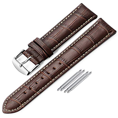 iStrap Genuine Calf Leather Watch Band Alligator Grain Padded for Men Women Color & Width (18mm,19mm, 20mm,21mm,22mm or 24mm) Gold Silver - Hamilton Leather Wrist Watch