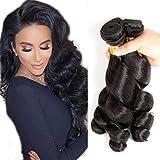 Loose Wave 4 Bundles Peruvian Virgin Hair 100% Unprocessed Weave Human Hair Bundles 400g by Yuzhu Hair (18″ 20″ 22″ 24″, Natural Black) Review