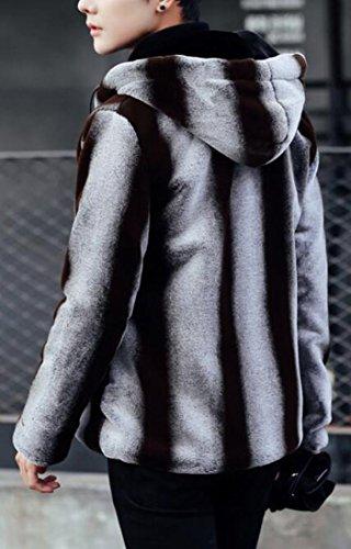UK Mens Sleeve today Jacket Warm 1 Full Hooded Fur Long Zipper Faux dq4xSwa