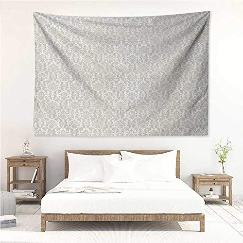alisos Damask,Tapestries for Sale Abstract Floral Pattern Wedding Inspired Soft Colored Design Complex Asian Motifs 93W x 70L Inch Mattress, Tablecloth Cream - Tapestry Damask Abstract